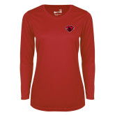 Ladies Syntrel Performance Red Longsleeve Shirt-Bear Head