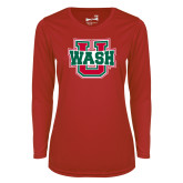Ladies Syntrel Performance Red Longsleeve Shirt-WashU