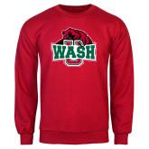 Red Fleece Crew-Wash U w/Bear
