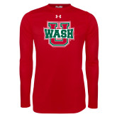 Under Armour Red Long Sleeve Tech Tee-WashU