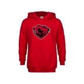 Youth Red Fleece Hoodie-Bear Head