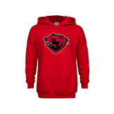 Youth Red Fleece Hoodie-Bear Head