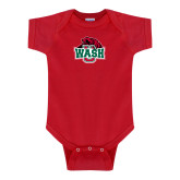 Red Infant Onesie-Wash U w/Bear
