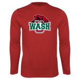 Performance Red Longsleeve Shirt-Wash U w/Bear