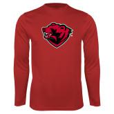 Performance Red Longsleeve Shirt-Bear Head