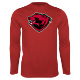 Performance Red Longsleeve Shirt-Bear Head