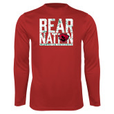 Performance Red Longsleeve Shirt-Bear Nation