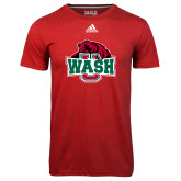 Adidas Climalite Red Ultimate Performance Tee-Wash U w/Bear