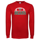 Red Long Sleeve T Shirt-Football Stacked