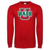 Red Long Sleeve T Shirt-WashU