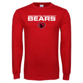 Red Long Sleeve T Shirt-Washington University Bears Stacked