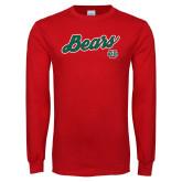 Red Long Sleeve T Shirt-Bears Script