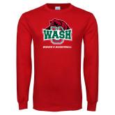 Red Long Sleeve T Shirt-Womens Basketball