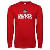 Red Long Sleeve T Shirt-Track and Field Text