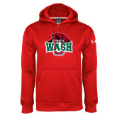Under Armour Red Performance Sweats Team Hoodie-Wash U w/Bear