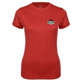 Ladies Syntrel Performance Red Tee-Wash U w/Bear