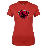 Ladies Syntrel Performance Red Tee-Bear Head