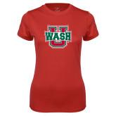 Ladies Syntrel Performance Red Tee-Wash U
