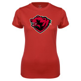 Ladies Syntrel Performance Red Tee-Bear Head