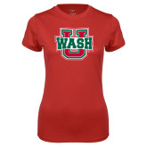 Ladies Syntrel Performance Red Tee-WashU