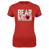 Ladies Syntrel Performance Red Tee-Bear Nation