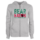 ENZA Ladies Grey Fleece Full Zip Hoodie-Bear Nation