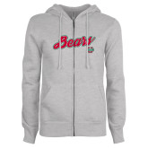 ENZA Ladies Grey Fleece Full Zip Hoodie-Bears Script