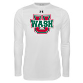 Under Armour White Long Sleeve Tech Tee-WashU