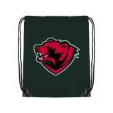 Dark Green Drawstring Backpack-Bear Head