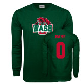 Dark Green Long Sleeve T Shirt-Wash U w/Bear, Custom Tee w/ Name and #