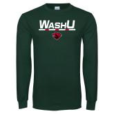 Dark Green Long Sleeve T Shirt-WashU Stacked