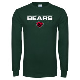 Dark Green Long Sleeve T Shirt-Washington University Bears Stacked
