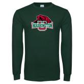 Dark Green Long Sleeve T Shirt-Washington U w/Bear