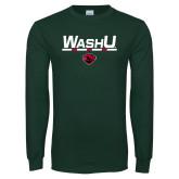 Dark Green Long Sleeve T Shirt-WashU Bar
