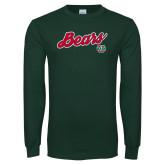 Dark Green Long Sleeve T Shirt-Bears Script