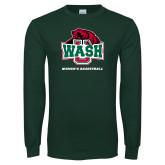 Dark Green Long Sleeve T Shirt-Womens Basketball