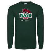 Dark Green Long Sleeve T Shirt-Volleyball