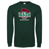 Dark Green Long Sleeve T Shirt-Basketball