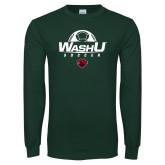 Dark Green Long Sleeve T Shirt-Soccer Half Ball