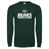 Dark Green Long Sleeve T Shirt-Track and Field Text