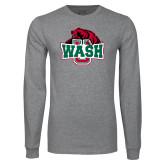 Grey Long Sleeve T Shirt-Wash U w/Bear
