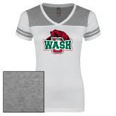 Ladies White/Heathered Grey Juniors Varsity V Neck Tee-Wash U w/Bear
