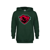 Youth Dark Green Fleece Hoodie-Bear Head