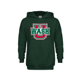 Youth Dark Green Fleece Hoodie-WashU