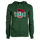 ENZA Ladies Dark Green Fleece Full Zip Hoodie-Wash U w/Bear