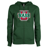 ENZA Ladies Dark Green Fleece Full Zip Hoodie-Wash U