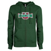 ENZA Ladies Dark Green Fleece Full Zip Hoodie-Washington U