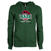 ENZA Ladies Dark Green Fleece Full Zip Hoodie-Womens Soccer