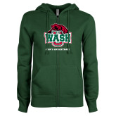 ENZA Ladies Dark Green Fleece Full Zip Hoodie-Mens Basketball