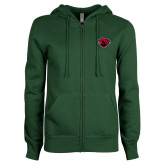 ENZA Ladies Dark Green Fleece Full Zip Hoodie-Bear Head